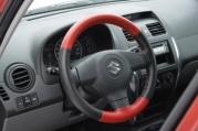 Poťah volantu kožený - čierno/červený B
